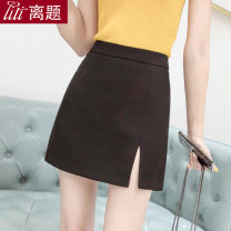skirt Spring of 2019 S M L XL XXL Apricot black Short skirt commute High waist skirt Solid color Type A 25-29 years old 91% (inclusive) - 95% (inclusive) Chiffon Digression polyester fiber Zipper split Korean version Polyester fiber 94% polyurethane elastic fiber (spandex) 6%