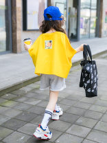 suit Other / other yellow 110cm,120cm,130cm,140cm,150cm,160cm female summer Korean version Short sleeve + pants 2 pieces Thin money There are models in the real shooting Socket nothing other cotton children Expression of love Hot summer girl's wear Class B Cotton 95% other 5%