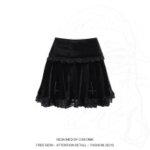 skirt Spring 2021 S,L,M black longuette street Ruffle Skirt Solid color 18-24 years old 212009A 51% (inclusive) - 70% (inclusive) Lace Other / other other Stitching, folding