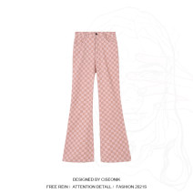 Casual pants Lotus root color S,M,L Spring 2021 trousers Wide leg pants High waist commute routine 18-24 years old 30% and below Wool blended fabric pocket wool