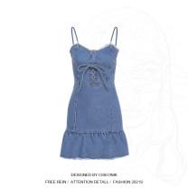 Dress Spring 2021 blue S,M,L Short skirt singleton  street High waist Solid color Socket Ruffle Skirt Other / other W20D11289