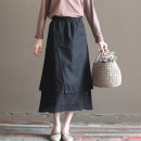 skirt Spring 2020 S. M (model code), l black Mid length dress commute Natural waist A-line skirt Solid color Type A D018 31% (inclusive) - 50% (inclusive) Three to five years hemp literature