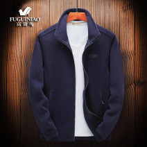 Sweater Fashion City FGN / rich bird Black, dark blue, color blue, orange red, jujube red 50. XL, 2XL, 3XL, 4XL suggest 165-180 Jin, 5XL suggest 180-195 Jin Solid color Cardigan routine stand collar autumn easy leisure time middle age Basic public routine polyester fiber New polyester fiber 100%