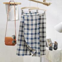 skirt Autumn 2020 Average size Black, blue Mid length dress commute High waist A-line skirt lattice Type A Asymmetry Korean version