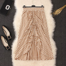 skirt Summer 2020 Average size Black, khaki, dark blue Mid length dress commute High waist A-line skirt lattice Type A brocade cotton literature