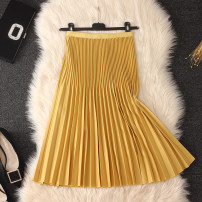 skirt Summer 2020 Average size Yellow, lotus root, blue, black, milky white, apricot, dark green, coffee Mid length dress commute High waist Pleated skirt Solid color Type A Chiffon Simplicity