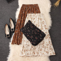 skirt Summer 2020 One size fits all leaf design Black leaves, apricot leaves, coffee leaves Mid length dress commute High waist Splicing style Decor Type A Chiffon Stitching, printing literature