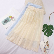 skirt Summer 2020 Average size Light blue, apricot, white, black Mid length dress fresh High waist A-line skirt Solid color Type A Chiffon Pleating, three-dimensional decoration, bandage, splicing