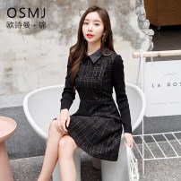 Dress Spring 2020 black M L XL 2XL 3XL Short skirt singleton  Long sleeves commute square neck middle-waisted lattice zipper A-line skirt routine Others 30-34 years old Type A Osman · Jin Korean version Stitching buttons J20AL556 30% and below polyester fiber
