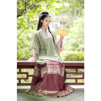 National costume / stage costume Summer of 2019 Green matching half sleeve shirt in stock, light pink purple matching shirt in stock, dark red gold yarn horse face pre-sale S. M, other sizes, l, XL Ling Xu's painting mirror