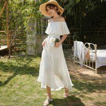 Dress Summer 2021 White, yellow S,M,L,XL longuette singleton  Sweet One word collar Elastic waist Solid color Socket Ruffle Skirt 18-24 years old T-type Bohemia