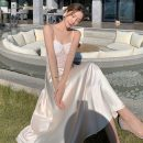 Dress Summer 2021 Picture color S,M,L longuette singleton  Sleeveless commute V-neck High waist Solid color Socket A-line skirt routine camisole Type A Korean version backless Chiffon polyester fiber