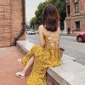 Dress Summer 2021 yellow S,M,L,XL longuette singleton  Sweet V-neck High waist Decor Big swing camisole 25-29 years old Open back, print, lace up Chiffon Bohemia
