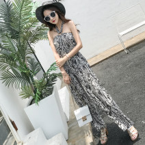 Casual pants Picture color S,M,L,XL Summer 2021 trousers Jumpsuit High waist commute Thin money 18-24 years old Korean version cotton