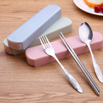 Spoon Set / fork chopsticks Chinese Mainland Metal Light pink light blue light green sis Self made pictures four thousand three hundred and eighteen public Xiaoxinqing Japanese  dormitory travel