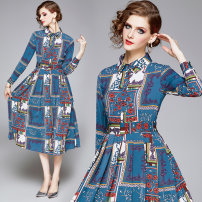 Dress Spring 2020 Lake blue M. L, XL, 2XL, XXL weight 0.39 Middle-skirt other Long sleeves street Polo collar middle-waisted Socket Big swing routine Others 35-39 years old Type A other Cellulose acetate Europe and America