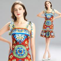 Dress Summer 2021 gules S,M,L,XL longuette singleton  Sleeveless commute One word collar High waist Decor Socket A-line skirt other camisole 25-29 years old Type A 31% (inclusive) - 50% (inclusive) other cotton
