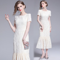 Dress Spring of 2019 Rice apricot color, full size stock, XXL weight 0.55kg S,M,L,XL,2XL longuette singleton  Short sleeve street Crew neck High waist Solid color Ruffle Skirt routine Type A Europe and America