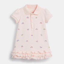 Dress Pink female tardy walk The height of 2T, 3T, 4T, 5T, 6T and 7T is 90cm, 100cm, 110cm, 120cm, 130cm and 140cm respectively Cotton 100% summer leisure time Short sleeve other Pure cotton (100% cotton content) Splicing style Class A