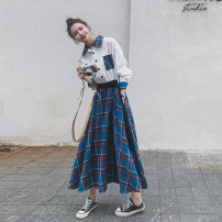 Dress Autumn 2020 Blue check S,M,L,XL Mid length dress singleton  Long sleeves commute Polo collar High waist Solid color Single breasted A-line skirt routine Others 18-24 years old Type A Korean version Lace up, panel, button More than 95%