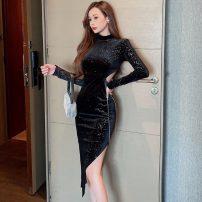 Dress Winter 2020 black S,M,L Miniskirt singleton  Long sleeves commute Crew neck High waist Solid color Socket Irregular skirt routine 25-29 years old Korean version Asymmetry polyester fiber