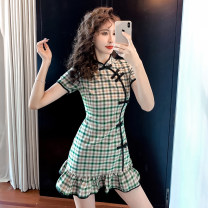 Dress Summer 2020 Green lattice S,M,L,XL Short skirt singleton  Short sleeve commute stand collar middle-waisted lattice zipper A-line skirt routine Others 18-24 years old Type A Korean version 31% (inclusive) - 50% (inclusive) other other