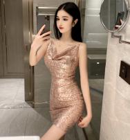 Dress Spring 2020 Pink, black S,M,L Short skirt singleton  Pile collar Flying sleeve camisole Other / other