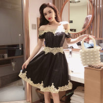 Dress Summer of 2019 Black, champagne Average size Short skirt singleton  Short sleeve commute One word collar Elastic waist Socket Pleated skirt routine Others 18-24 years old Other / other lady 31% (inclusive) - 50% (inclusive) Lace cotton