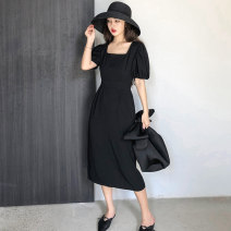 Dress Summer of 2019 black S,M,L,XL Miniskirt singleton  Short sleeve commute Solid color puff sleeve Other / other
