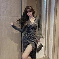 Dress Winter 2020 black S,M,L Short skirt singleton  Long sleeves commute V-neck High waist Solid color zipper One pace skirt routine Others Type H Other / other 31% (inclusive) - 50% (inclusive) other other