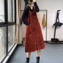 Dress Autumn 2020 Red, black Average size longuette singleton  Sleeveless commute One word collar High waist Solid color Single breasted A-line skirt routine straps Type A Korean version Button ML9791 More than 95% cotton