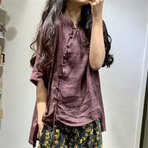 shirt Yellow, lake blue, pink, coffee Average size Summer of 2019 hemp 96% and above elbow sleeve Original design stand collar Single row multi button routine Solid color hemp