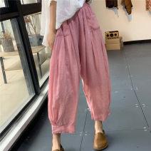 Casual pants Pink, white Average size Summer 2020 Ninth pants Haren pants High waist Versatile routine 96% and above hemp hemp