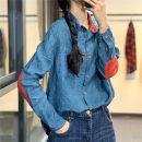 shirt blue Average size Spring of 2019 hemp 96% and above Long sleeves Original design Regular square neck Single row multi button routine lattice Q8086 hemp