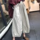 Casual pants Average size Summer 2020 Ninth pants Knickerbockers High waist Versatile routine 96% and above hemp hemp