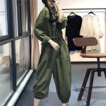 Casual pants Army green, dark green, black Average size Spring 2020 Ninth pants Jumpsuit High waist commute routine 96% and above JY8226-1 cotton Simplicity cotton