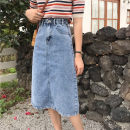 skirt Summer 2021 S,M,L,XL White, blue Mid length dress commute High waist Denim skirt Solid color Type A 18-24 years old 31% (inclusive) - 50% (inclusive) other Other / other other Korean version