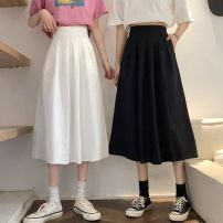 skirt Spring 2021 S,M,L White, black Mid length dress commute High waist A-line skirt Solid color Type A 18-24 years old 31% (inclusive) - 50% (inclusive) other Other / other other Korean version