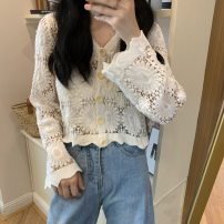 Lace / Chiffon Spring 2021 Apricot, white, black Average size Long sleeves commute Cardigan singleton  Straight cylinder have cash less than that is registered in the accounts V-neck Solid color pagoda sleeve 18-24 years old Other / other Korean version 31% (inclusive) - 50% (inclusive)