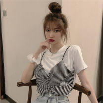 T-shirt White stripe, black stripe M,L,XL Summer 2021 Short sleeve Crew neck easy Regular routine commute other 31% (inclusive) - 50% (inclusive) 18-24 years old Korean version originality Thin horizontal stripe Other / other