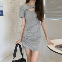 Dress Summer 2021 Gray, black Average size Short skirt singleton  Short sleeve commute Crew neck High waist Solid color Socket routine 18-24 years old Type A Other / other Korean version 31% (inclusive) - 50% (inclusive)