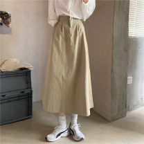 skirt Spring 2021 Average size Mid length dress commute High waist A-line skirt Solid color Type A 18-24 years old 31% (inclusive) - 50% (inclusive) other Other / other other Korean version