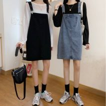 Dress Spring 2021 Blue, black S,M,L Middle-skirt singleton  Sleeveless commute other Loose waist Solid color Socket A-line skirt routine Others 18-24 years old Type A Other / other Korean version pocket 31% (inclusive) - 50% (inclusive) other other