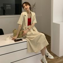 Fashion suit Summer 2021 Average size Lotus pink suit, fog blue suit, milk apricot suit, lotus pink skirt, fog blue skirt, milk apricot skirt 18-25 years old Other / other 31% (inclusive) - 50% (inclusive)