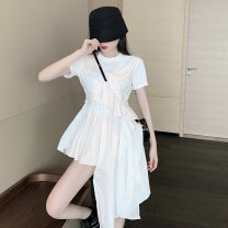 Dress Summer 2021 white M, L Mid length dress singleton  Short sleeve commute Crew neck High waist Solid color Socket Irregular skirt routine 18-24 years old Type A Other / other Korean version Asymmetry 31% (inclusive) - 50% (inclusive)