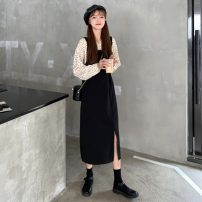 Dress Spring 2021 Polka Dot Shirt, black strap skirt Average size Mid length dress singleton  Long sleeves commute One word collar High waist Solid color Socket A-line skirt routine straps 18-24 years old Type A Other / other Korean version 31% (inclusive) - 50% (inclusive) other other