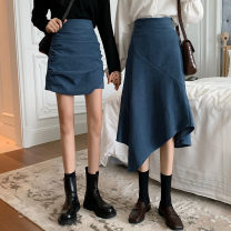 skirt Spring 2021 S,M,L Black skirt, blue skirt, black skirt, blue skirt Short skirt commute High waist A-line skirt Solid color Type A 18-24 years old 31% (inclusive) - 50% (inclusive) Other / other Korean version