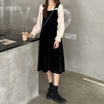 Dress Spring 2021 black Average size longuette singleton  Long sleeves commute square neck High waist Solid color Socket A-line skirt routine Others 18-24 years old Type A Other / other Korean version Splicing 31% (inclusive) - 50% (inclusive) other