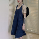 Dress Summer 2021 Denim skirt Average size Short skirt singleton  Sleeveless commute Crew neck Loose waist Solid color Socket straps 18-24 years old Type H Other / other Korean version 31% (inclusive) - 50% (inclusive)