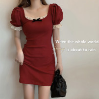 Dress Winter 2021 Girl Black (top), girl black (sling), girl black (dress), Retro Red (top), Retro Red (sling), Retro Red (dress), black pleated skirt S, M Short skirt singleton  Short sleeve commute square neck High waist Solid color Socket puff sleeve 18-24 years old Type H Other / other Lace